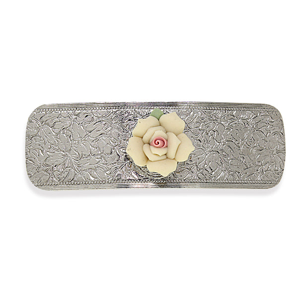 1928 Jewelry Silver Tone Pink Porcelain Flower Hair Barrette