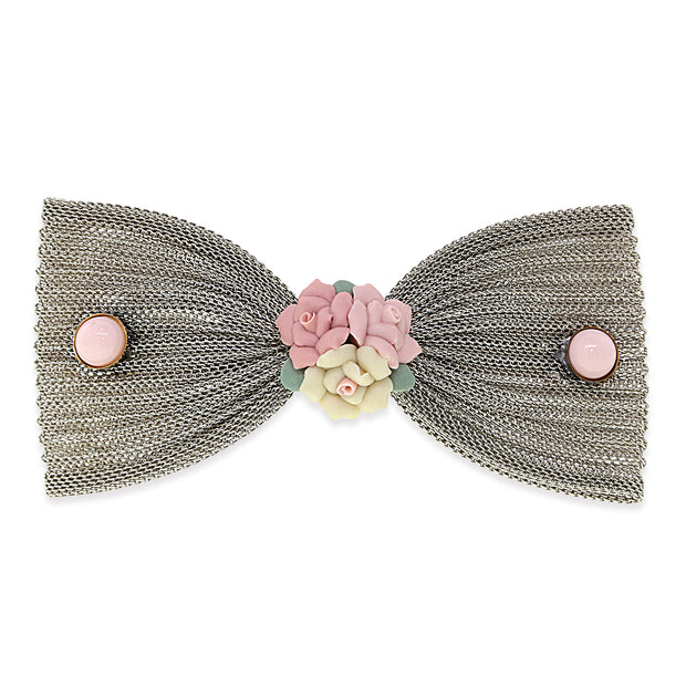 Pink Porcelain Flower Mesh Bow Hair Barrette