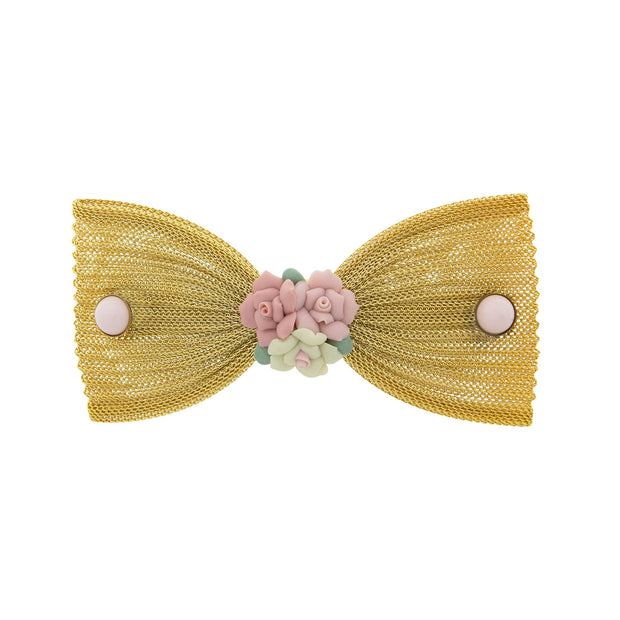 Pink Porcelain Flower Mesh Bow Hair Barrette GOLD