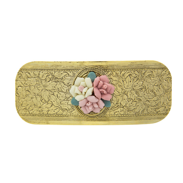 1928 Jewelry Gold Tone Large Pink Porcelain Flower Hair Barrette
