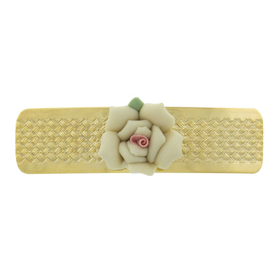 1928 Jewelry Gold Tone Small Pink Porcelain Flower Hair Barrette