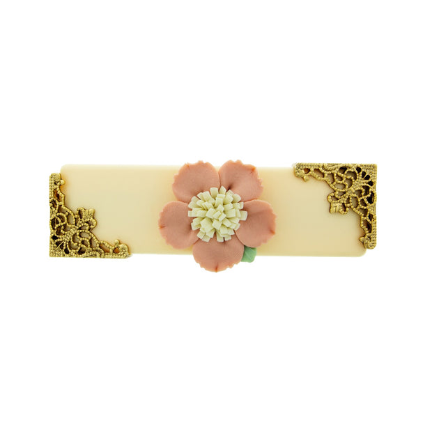Ivory With Pink & White Porcelain Flower Barrette