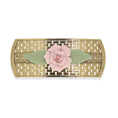 1928 Jewelry Gold Tone Large Pink Porcelain Flower Lattice Hair Barrette