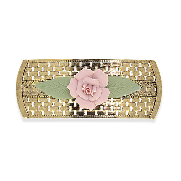 Gold Tone Large Pink Porcelain Flower Lattice Hair Barrette