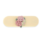 Ivory Color With Pink Porcelain Cluster Flowers Small Barrette