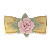 Gold Tone Large Pink & Green Porcelain Flower Mesh Bow Hair Barrette