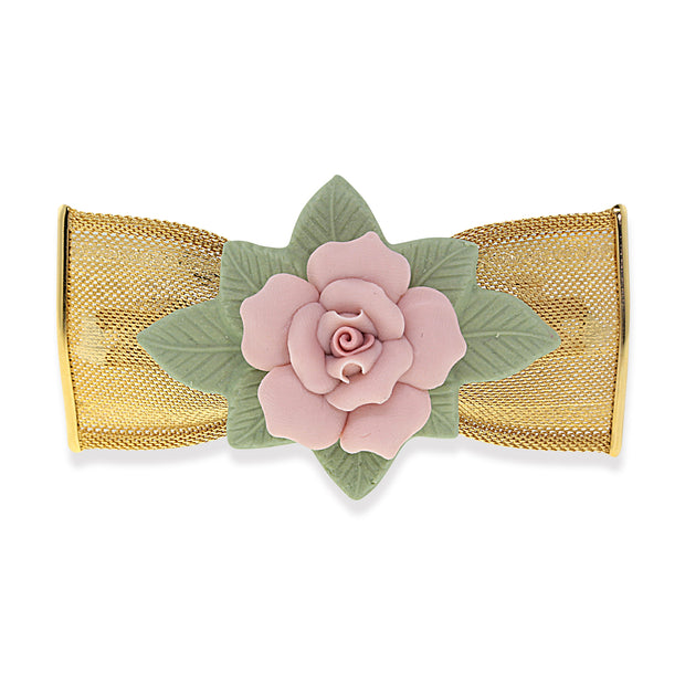 1928 Jewelry Gold Tone Large Pink & Green Porcelain Flower Mesh Bow Hair Barrette