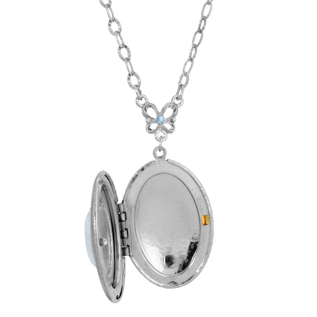 Silver Tone Blue Semi Precious Oval Stone Locket Necklace