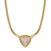 14K Gold Dipped Semi Precious Triangle Stone Necklace 16 - 19 Inches Adjustable