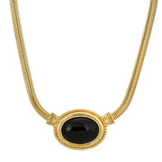 14K Gold Dipped Oval Semi Precious Necklace 16 - 19 Inches Adjustable