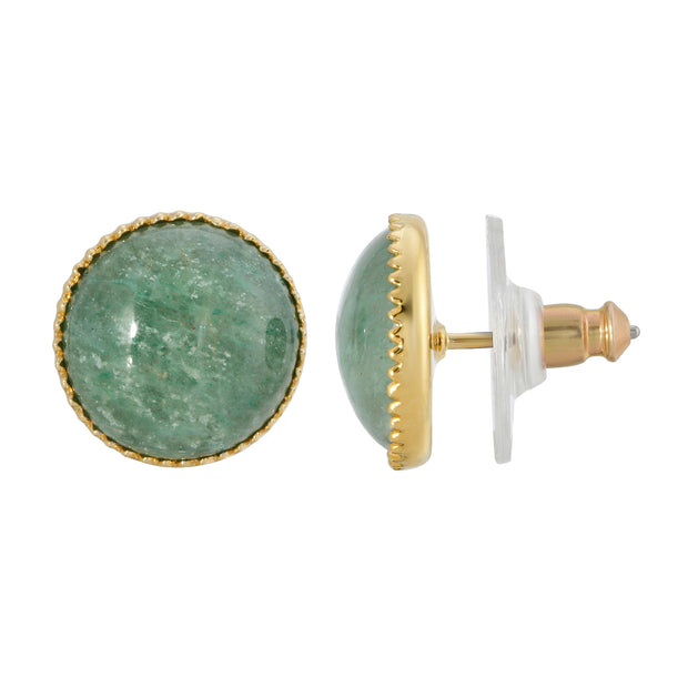 14K Gold Dipped Green Semi Precious Round Stone Stud Earring