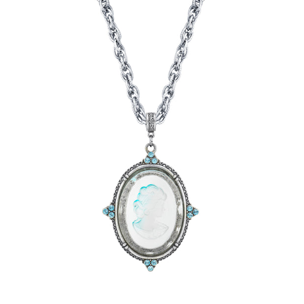 Silver Tone Glass Oval Intaglio Cameo With Crystal Accents Pendant Necklace 30