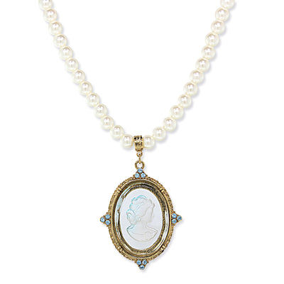 Gold Tone Blue Glass Oval Intaglio Costume Pearl Necklace 18