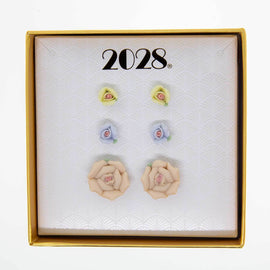 3pc Porcelain Rose in a Box Earring Set