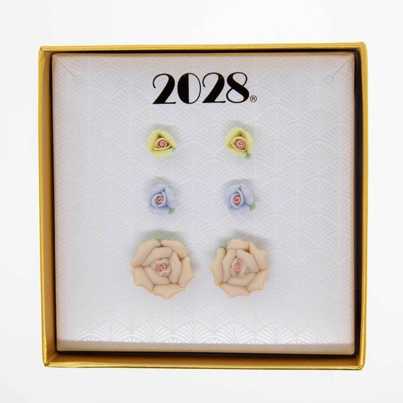 3pc Porecelain Rose in a Box Earring Set