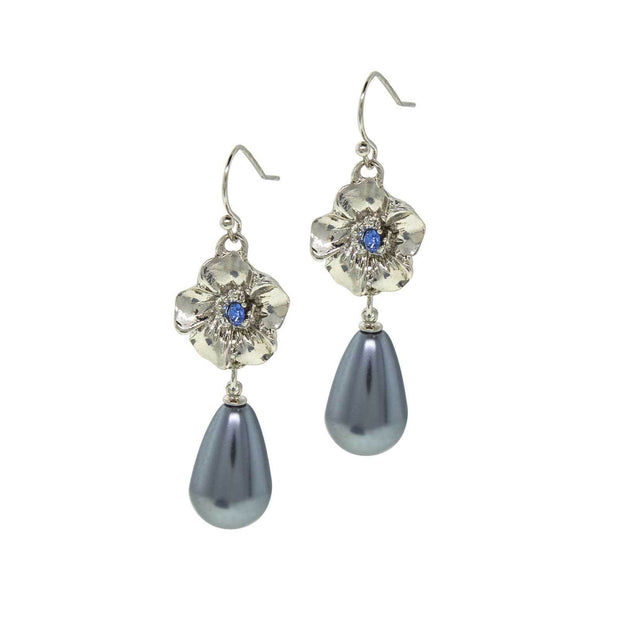 Blue Crystal Flower With Grey Costume Pearl Drop Earring
