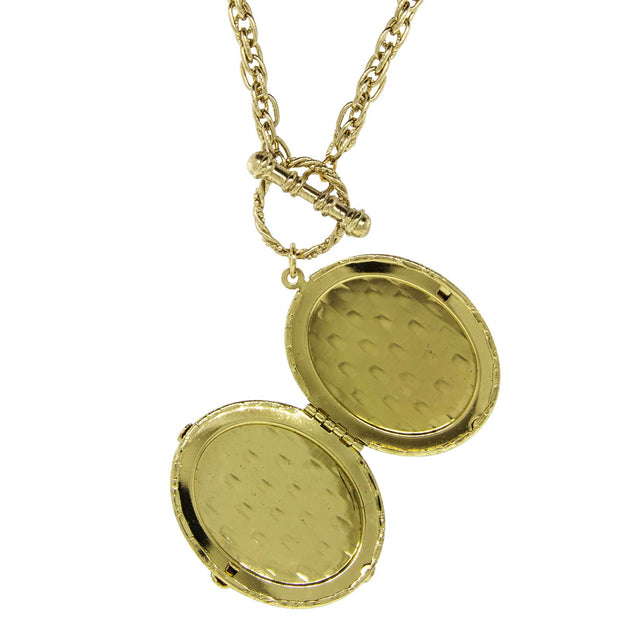 1928 Jewelry Gold Tone Girls Oval Stone Locket Necklace 32 Inches
