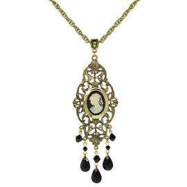 Gold Tone Black Oval Cameo Locket Necklace 32