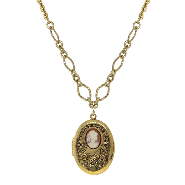 Gold Tone Carnelian Cameo with Flowers Oval Locket Necklace 16  Adj.