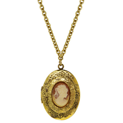 Gold Tone Carnelian Cameo Double Locket Necklace 28