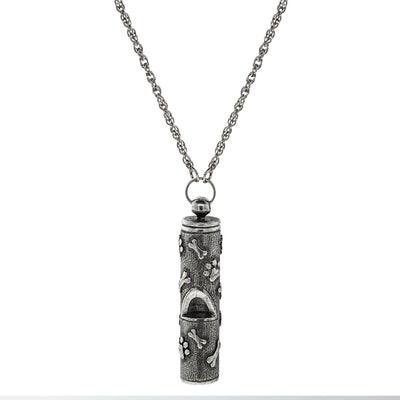 Pewter Dog Bone Paw Prints Whistle Necklace 28 In.