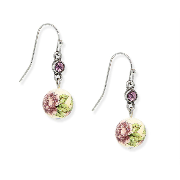 Silver Tone Purple Crystal Flower Drop Earrings