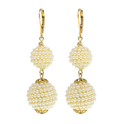 Gold Tone Double Seeded Costume Pearl Drop Ball Earrings