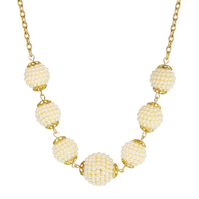 Gold Tone Multi Round Faux Seeded Ball Necklace 16 In. Adjustable