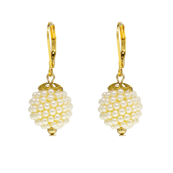 1928 Jewelry Gold Tone Single Costume Seeded Pearl Ball Drop Earring