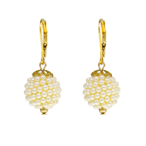 Gold Tone Single Costume Seeded Pearl Ball Drop Earring
