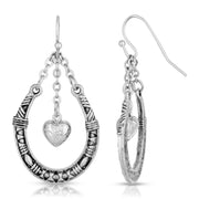 Pewter Horseshoe With Dangling Heart Earring