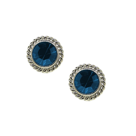 Silver Tone Blue Round Button Stud Earrings