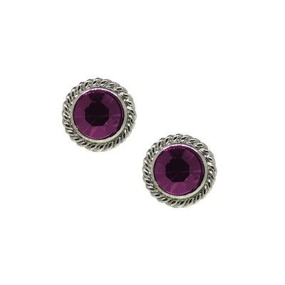 Silver Tone Purple Round Button Stud Earrings