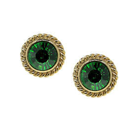 14k Gold Dipped Green Round Button Stud Earrings