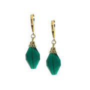 14K Gold Dipped Emerald Green Crystal Drop Bead Earring