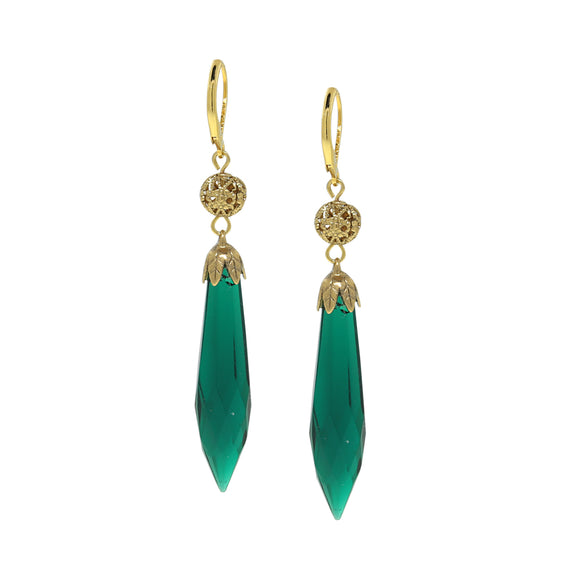 14K Gold Dipped Green Drop Earring