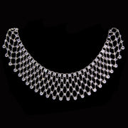 Silver Tone Round Swarovski Crystal Bib Necklace 14 In Adj