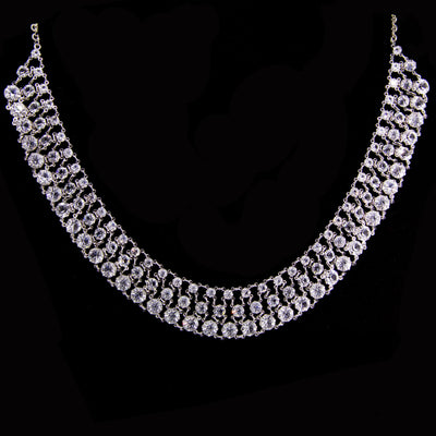 Silver Tone Round 3 Row Swarovski Crystal Necklace 16 - 19 Inch Adjustable