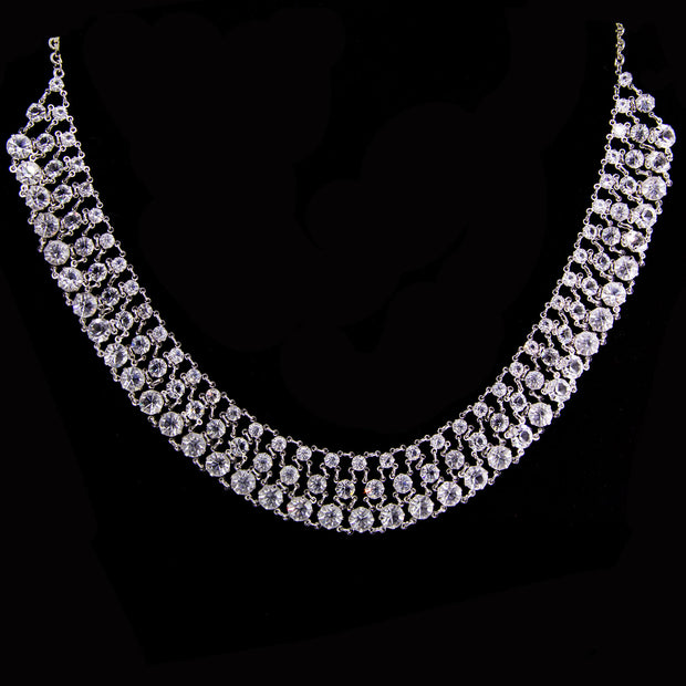 Silver Tone Round 3 Row Swarovski Crystal Necklace 16   19 Inch Adjustable