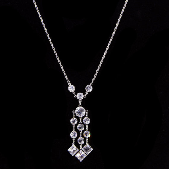 Silver Tone Round & Square Drop Swarovski Crystal Necklace 18 In