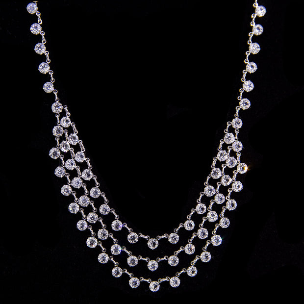 Silver Tone Round Swarovski Crystal Draped Necklace 15 In