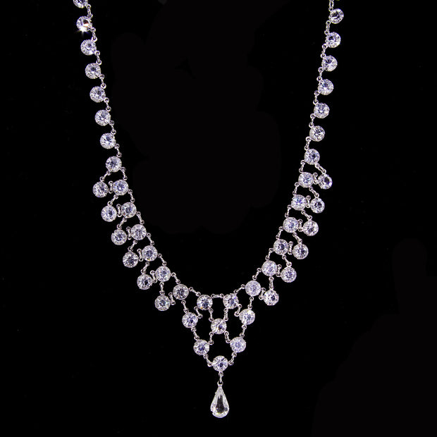 Silver Tone Tear Drop Swarovski Crystal Necklace 15 In