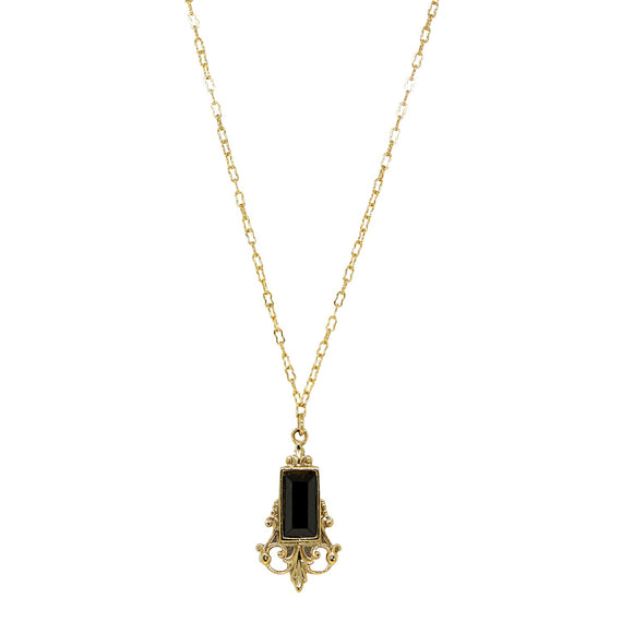 14K Gold Dipped Black Pendant Necklace 16 in