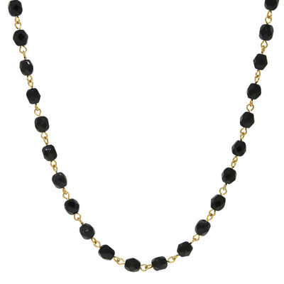 14K Gold Dipped Black Bead Necklace 16 Adj