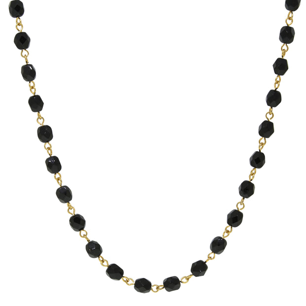 14K Gold Dipped Black Bead Necklace 16 - 19 Inch Adjustable