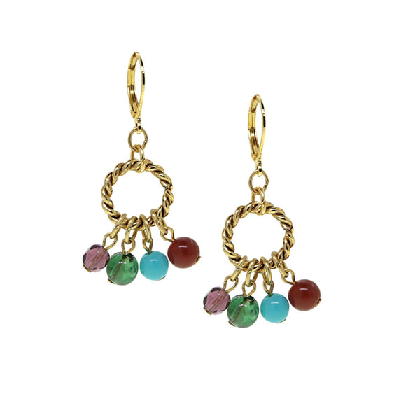 14K Gold Dipped  Hoop Multi Color Drop Beads Earring