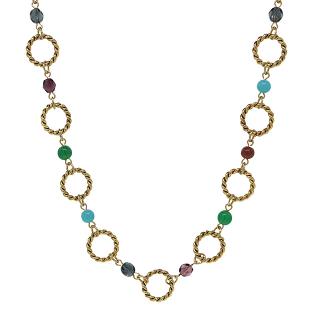14K Gold Dipped Round Link Multi Color 16   19 Inch Adjustable