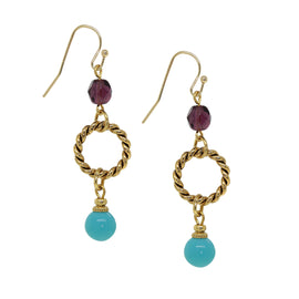 14K Gold Dipped Drop Hoop Turquoise Bead Wire Earrings