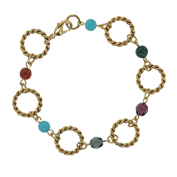 14K Gold Dipped Round Link Multi Color Bracelet