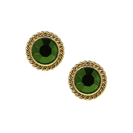 14K Gold Dipped Light Green Small Round Stud Earrings